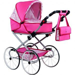 Gyermek Retro babakocsi babáknak 2az1-ben New Baby  rózsaszín