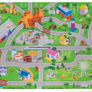 Sun Baby játszószőnyeg autókkal-vonat 124×161 cm