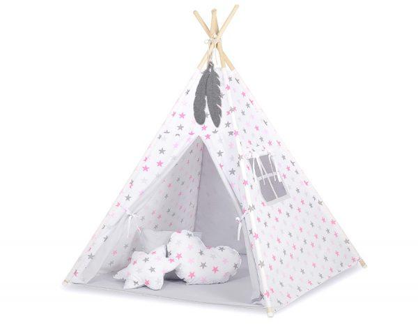 Textil sátor szürke-rózsaszín csillagok