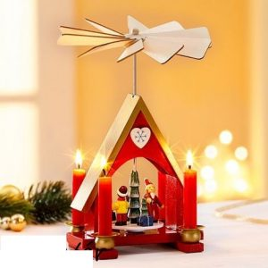 Karácsonyi forgó piramis ház piros