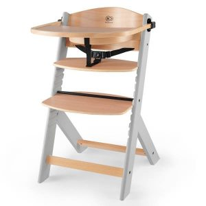 KinderKraft Enock, fa etetőszék grey wooden