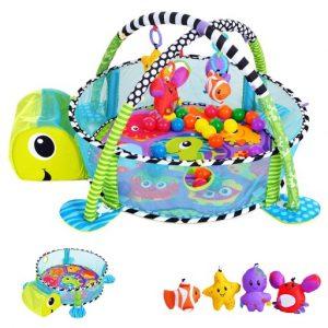 Teknősbéka formájú 3 az 1-ben  labdamedence , játszószőnyeg