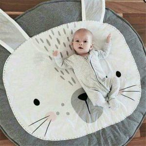 Kerek szürke nyuszis játszószőnyeg