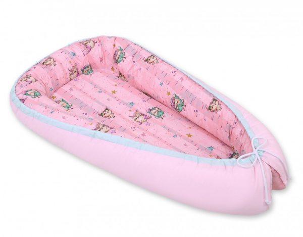 BabyLion Babafészek kifordítható – Rózsaszín Baglyok