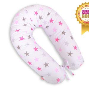BabyLion Prémium XXL szoptatós párna – Rózsaszín csillagok