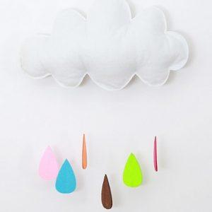 Felhő dekor- színes  esőcseppekkel