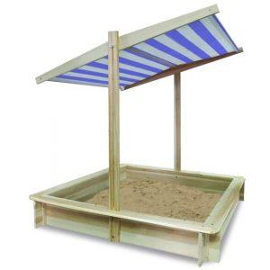 Fa homokozó 2 állású -kék-fehér csíkos tetővel