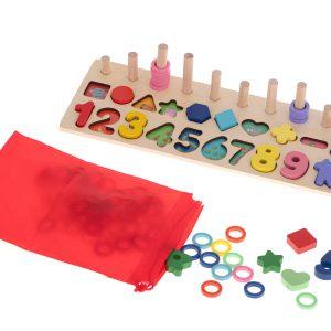 Fa abacus ,montessori  szám és formaválogató  3IN1 készégfejlesztő játék