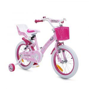 Rózsaszín 16-os kislány kerékpár kosárral