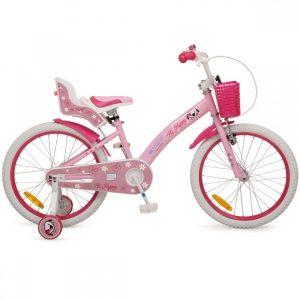 Rózsaszín 20-as kislány kerékpár kosárral