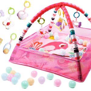 Játszószőnyeg labdákkal rózsaszín madárkás
