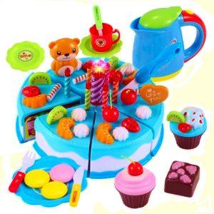 Szeletelhető születésnapi torta kék 80db kiegészítővel