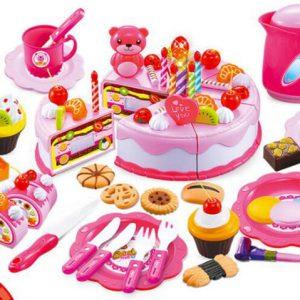 Szeletelhető születésnapi torta rózsaszín 80db kiegészítővel